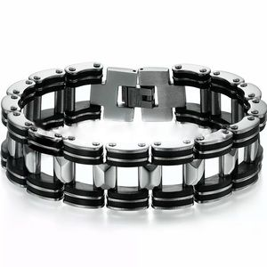 Black & Steel Biker Chain Bracelet!